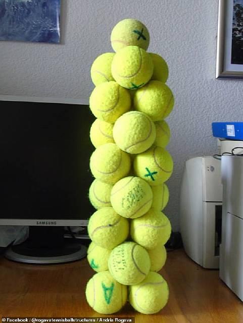 Ученый создает удивительные башни из мячей без капли клея