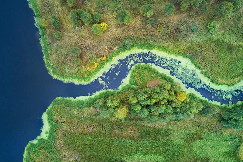 Аэроснимок притока реки Чусовая, Свердловская область